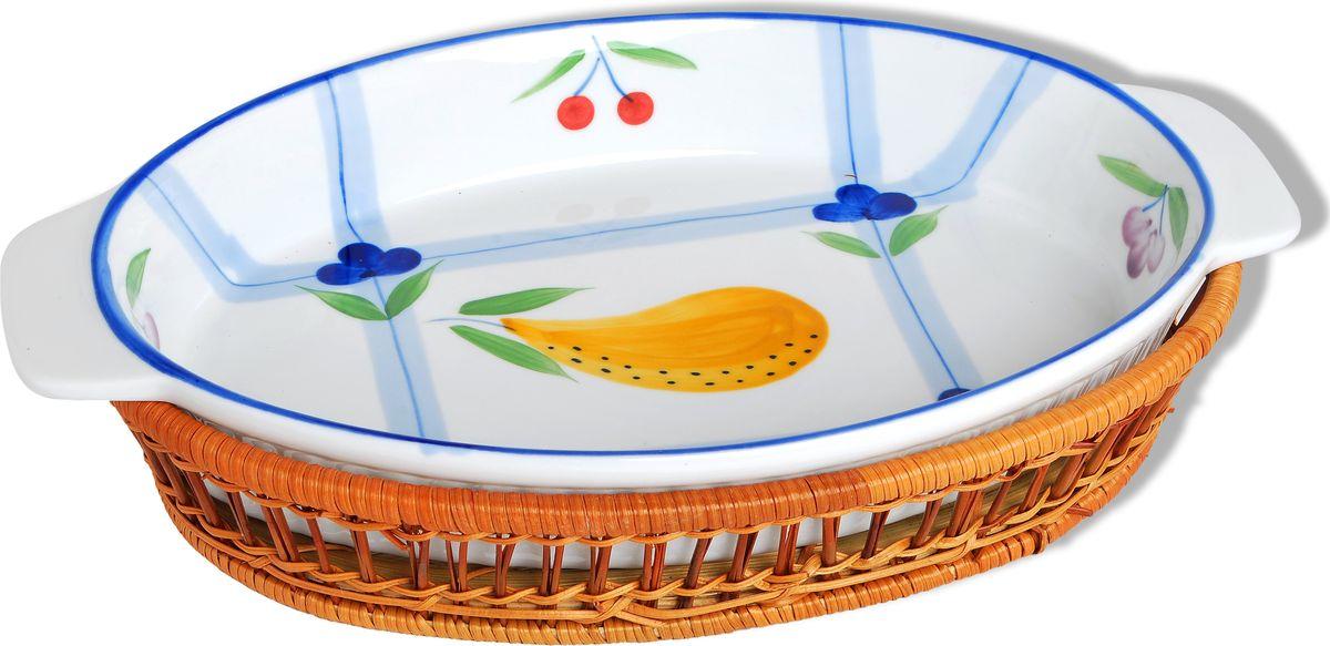 Блюдо для выпечки Bayerhoff, керамическое, в плетеной корзине, 2 предмета. BH-177BH-177Блюдо для выпечки Bayerhoff изготовлено из жаропрочной глазурованной керамики, что обеспечивает оптимальное распределение тепла. Подходит для запекания различных блюд.Может быть использовано для подачи запеченных и охлажденных блюд на стол. В комплекте с блюдом идет плетеная подставка-корзиночка, благодаря чему блюдо более эффективно будет смотреться на столе.Подходит для использования на газовой и электрической плите, а также в СВЧ и духовом шкафу. Можно мыть в посудомоечной машине.Диаметр блюда: 31 см.