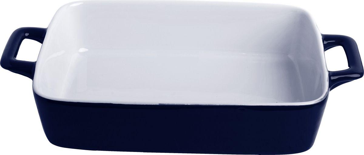 Противень керамический Frank Moller, цвет: темно-синий, белый, 30 х 17,5 х 5,5 смFM-623Противень керамический Frank Moller выполнен из высококачественной жаропрочной керамики. Благодаря обжигу при высоких температурах изделие имеет прочную непористую структуру и идеально гладкую поверхность. Материал гигиеничен, не впитывает запахи, легко моется, нейтрален к пищевым кислотам и солям. Обеспечивает щадящий режим приготовления, благодаря способности медленно накапливать тепло и медленно его отдавать. Противень подходит для использования в духовке, гриле, микроволновых печах, для хранения в холодильнике и замораживания. Можно мыть в посудомоечной машине. Выдерживает нагрев до 220°С.Размер (с учетом ручек): 30 х 17,5 х 5,5 см.