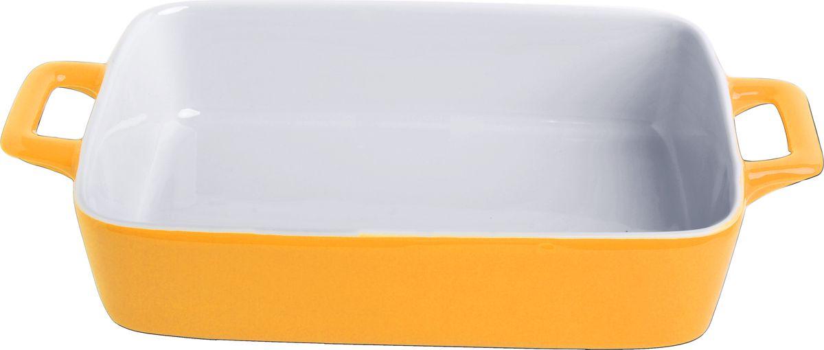 Противень керамический Frank Moller, цвет: желтый, белый, 27 х 16,3 х 5,5 смFM-627Противень керамический Frank Moller выполнен из высококачественной жаропрочной керамики. Благодаря обжигу при высоких температурах изделие имеет прочную непористую структуру и идеально гладкую поверхность. Материал гигиеничен, не впитывает запахи, легко моется, нейтрален к пищевым кислотам и солям. Обеспечивает щадящий режим приготовления, благодаря способности медленно накапливать тепло и медленно его отдавать. Противень подходит для использования в духовке, гриле, микроволновых печах, для хранения в холодильнике и замораживания. Можно мыть в посудомоечной машине. Выдерживает нагрев до 220°С.Размер (с учетом ручек): 27 х 16,3 х 5,5 см.