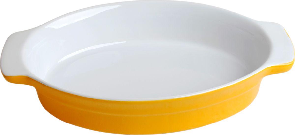 Противень керамический Frank Moller, цвет: желтый, белый, 29 х 18,5 х 5,5 смFM-654Противень керамический Frank Moller выполнен из высококачественной жаропрочной керамики. Благодаря обжигу при высоких температурах изделие имеет прочную непористую структуру и идеально гладкую поверхность. Материал гигиеничен, не впитывает запахи, легко моется, нейтрален к пищевым кислотам и солям. Обеспечивает щадящий режим приготовления, благодаря способности медленно накапливать тепло и медленно его отдавать. Противень подходит для использования в духовке, гриле, микроволновых печах, для хранения в холодильнике и замораживания. Можно мыть в посудомоечной машине. Выдерживает нагрев до 220°С.Размер (с учетом ручек): 29 х 18,5 х 5,5 см.