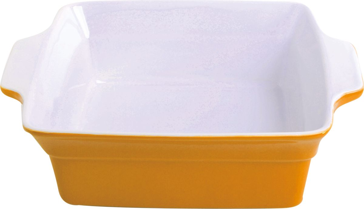 Противень керамический Frank Moller, цвет: желтый, белый, 24,5 х 20,3 х 7,3 смFM-672Противень керамический Frank Moller выполнен из высококачественной жаропрочной керамики. Благодаря обжигу при высоких температурах изделие имеет прочную непористую структуру и идеально гладкую поверхность. Материал гигиеничен, не впитывает запахи, легко моется, нейтрален к пищевым кислотам и солям. Обеспечивает щадящий режим приготовления, благодаря способности медленно накапливать тепло и медленно его отдавать. Противень подходит для использования в духовке, гриле, микроволновых печах, для хранения в холодильнике и замораживания. Можно мыть в посудомоечной машине. Выдерживает нагрев до 220°С.Размер (с учетом ручек): 24,5 х 20,3 х 7,3 см.
