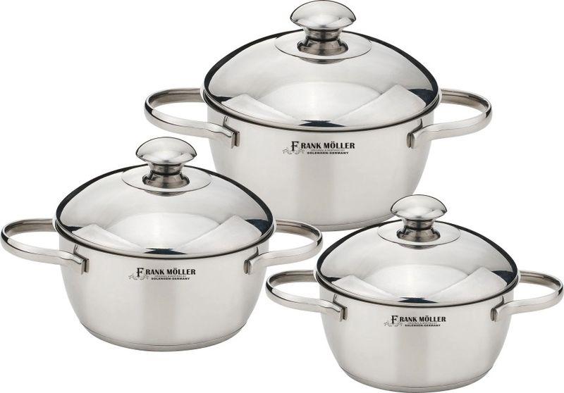 """Набор посуды """"Frank Moller"""" состоит из 3 кастрюль разного объема с крышками. Посуда выполнена из высококачественной полированной нержавеющей стали 18/10. Особая  конструкция термоаккумулирующего дна предназначена для равномерного нагрева посуды.  Комбинация зеркальной и матовой полировки придает посуде особо эстетичный внешний вид.  Крышки изготовлены из термостойкого стекла и оснащены отверстием для выхода пара. Такие  крышки позволяют следить за процессом приготовления пищи без потери тепла. Они плотно  прилегают к краям посуды, сохраняя аромат блюд.Ручки кастрюли изготовлены также из  нержавеющей стали 18/10 с клепочным креплением. Посуду можно использовать на всех типах плит, включая индукционные. Можно мыть в  посудомоечной машине.Характеристики: Объем кастрюль: 1,7 л, 2,4 л, 3,3 л.  Внутренний диаметр кастрюль: 16 см, 18 см, 20 см."""