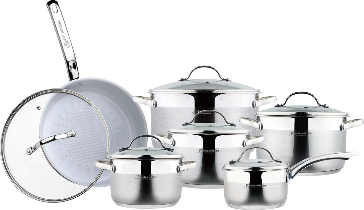 Набор посуды Frank Moller, 12 предметов. FM-826FM-826Набор посуды Frank Moller состоит из 4 кастрюль разного объема с крышками, сковороды с крышкой, ковша с крышкой.Посуда выполнена из высококачественной полированной нержавеющей стали 18/10. Особая конструкция пятислойного термоаккумулирующего капсульного дна предназначена для равномерного нагрева посуды. Комбинация зеркальной и матовой полировки придает посуде особо эстетичный внешний вид.Крышки изготовлены из термостойкого стекла и оснащены отверстием для выхода пара. Такие крышки позволяют следить за процессом приготовления пищи без потери тепла. Они плотно прилегают к краям посуды, сохраняя аромат блюд.На внутренних стенках посуды имеется шкала литража, что обеспечивает дополнительное удобство при приготовлении пищи. Сковорода имеет внутреннее керамическое покрытие и удобную длинную ручку из нержавеющей стали 18/10.Посуду можно использовать на всех типах плит, включая индукционные. Можно мыть в посудомоечной машине.Характеристики:Объем кастрюль: 2 л, 2,8 л, 3,7 л, 5,8 л. Внутренний диаметр кастрюль: 16 см, 18 см, 20 см, 24 см. Объем ковша: 1,2 л. Внутренний диаметр ковша: 14 см. Диаметр сковороды: 24 см.Объем сковороды: 3 л.