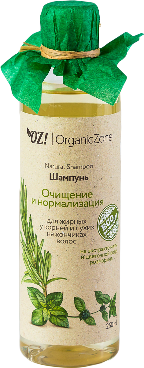 OrganicZone Шампунь для жирных у корней у сухих на кончиках волос Очищение и нормализация, 250 мл4665301124280Укрепляют волосяные луковицы, предотвращают облысение, очищают кожу головы. Масло кокоса в сочетании с витамином Е интенсивно питают кончики волос, придают мягкость и защищают. Экстракт мяты полезен для ухода за жирной кожей головы, снимает воспаление и помогает при жирной себорее. Алюмокалиевые квасцы обладают вяжущими и антисептическими свойствами.