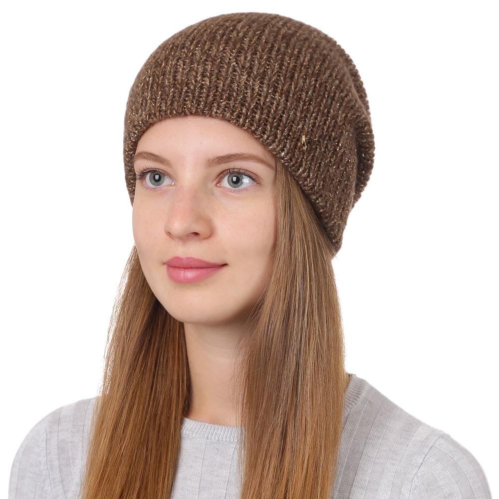 Шапка женская Fabretti, цвет: коричневый. F2017-25-85. Размер универсальныйF2017-25-85Стильная женская шапка Fabretti отлично дополнит ваш образ и защитит от холода. Смесовая пряжа с шерстью в составе максимально сохраняет тепло и обеспечивает удобную посадку. Классическая вязаная шапка оформлена металлическим декоративным элементом. Такая шапка станет отличным дополнением к вашему осеннему или зимнему гардеробу, в ней вам будет уютно и тепло!