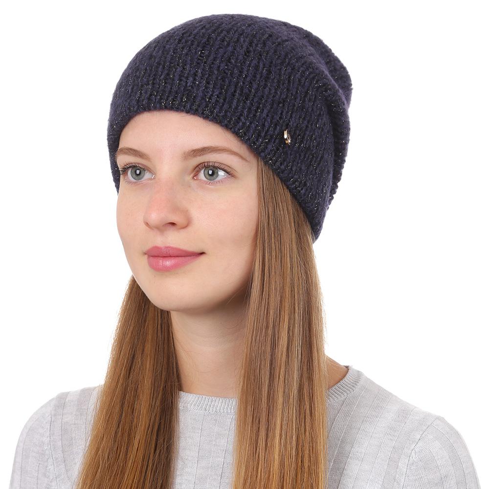 Шапка женская Fabretti, цвет: темно-синий. F2017-25-98. Размер универсальныйF2017-25-98Стильная женская шапка Fabretti отлично дополнит ваш образ и защитит от холода. Смесовая пряжа с шерстью в составе максимально сохраняет тепло и обеспечивает удобную посадку. Классическая вязаная шапка оформлена металлическим декоративным элементом. Такая шапка станет отличным дополнением к вашему осеннему или зимнему гардеробу, в ней вам будет уютно и тепло!