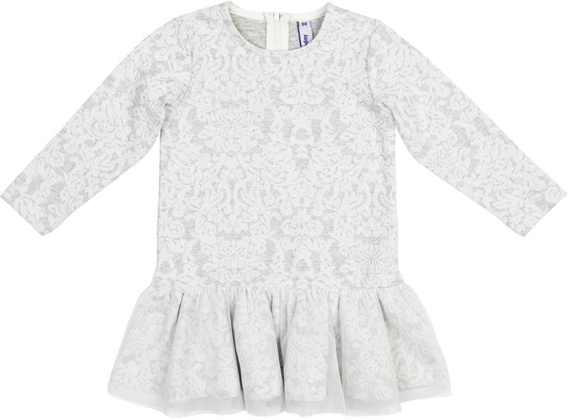 Платье для девочки PlayToday, цвет: светло-серый, белый. 378073. Размер 86378073Платье PlayToday с округлым вырезом дополнит гардероб ребенка. Модель из мягкой ткани с эффектом объемного рисунка. На спинке расположена удобная застежка-молния. Платье с длинными рукавами и заниженной талией. Верх юбки дополнен широкой оборкой из легкой сетчатой ткани.