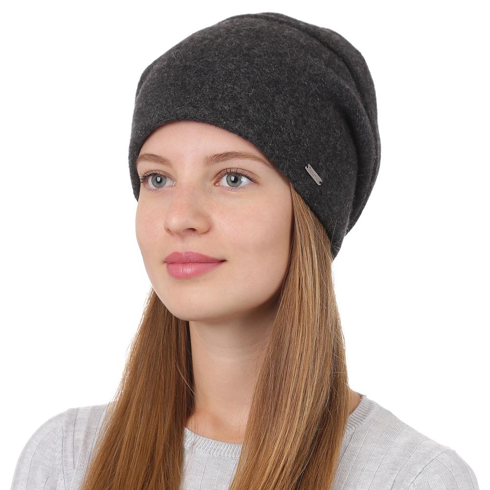 Шапка женская Fabretti, цвет: темно-серый. F2017-28-44. Размер универсальныйF2017-28-44Стильная женская шапка Fabretti отлично дополнит ваш образ и защитит от холода. Смесовая пряжа с шерстью в составе максимально сохраняет тепло и обеспечивает удобную посадку. Шапка оформлена металлической пластиной с названием бренда. Такая шапка станет отличным дополнением к вашему осеннему или зимнему гардеробу, в ней вам будет уютно и тепло!