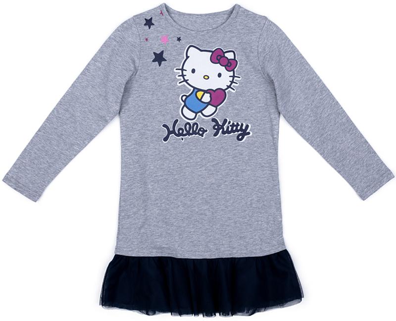 Платье для девочки PlayToday, цвет: серый. 572154. Размер 128572154Прямое трикотажное платье от PlayToday с длинным рукавом. В качестве декора использован яркий лицензированный принт. По низу изделия добавлена оборка из легкой сетчатой ткани контрастного цвета.