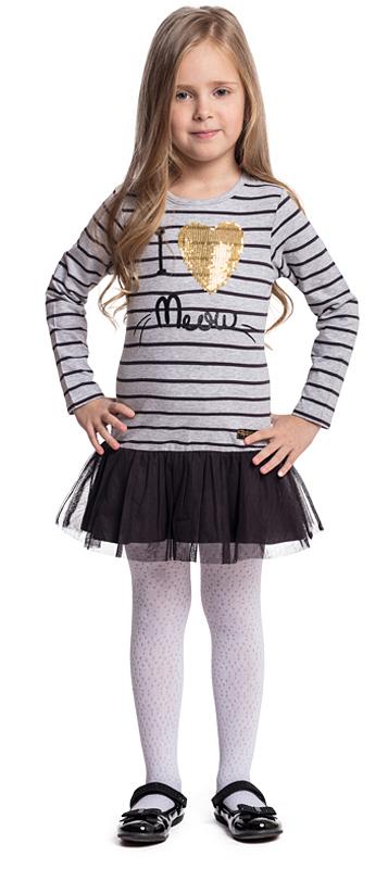 Платье для девочки PlayToday, цвет: серый, черный. 372024. Размер 98372024Платье PlayToday свободного кроя дополнит повседневный гардероб ребенка. Модель с округлым вырезом выполнена в технике Yarn Dyed - в процессе производства используются разного цвета нити. При рекомендуемом уходе изделие не линяет и надолго остается в первоначальном виде. Модель дополнена аппликацией из пайеток. Верхняя часть юбки декорирована сетчатой тканью.