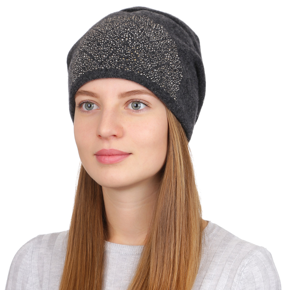 Шапка женская Fabretti, цвет: темно-серый. F2017-29-44. Размер универсальныйF2017-29-44Стильная женская шапка Fabretti отлично дополнит ваш образ и защитит от холода. Смесовая пряжа с шерстью в составе максимально сохраняет тепло и обеспечивает удобную посадку. Шапка оформлена стразами. Такая шапка станет отличным дополнением к вашему осеннему или зимнему гардеробу, в ней вам будет уютно и тепло!