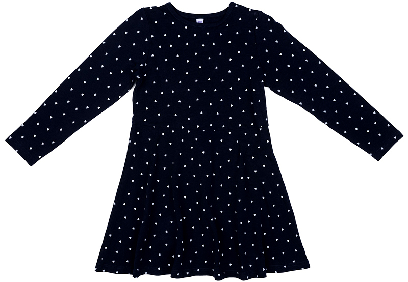 Платье для девочки PlayToday, цвет: темно-синий, белый. 372165. Размер 98372165Платье PlayToday с округлым вырезом отрезное по талии. Выполнено из натурального хлопка. Модель с длинными рукавами. В качестве декора использован мелкий принт по всей площади изделия.