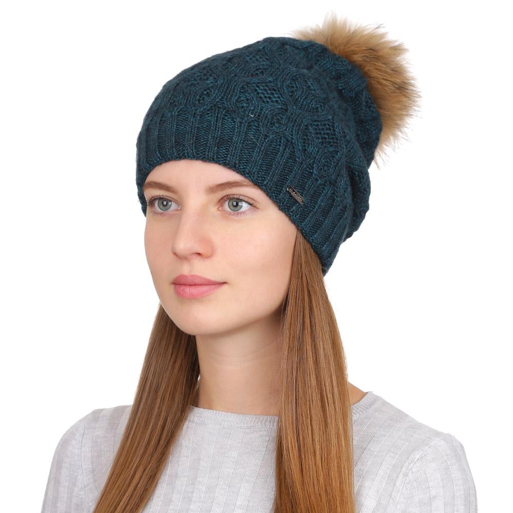 Шапка женская Fabretti, цвет: изумрудный. F2017-32-52. Размер универсальныйF2017-32-52Стильная женская шапка Fabretti отлично дополнит ваш образ и защитит от холода. Смесовая пряжа с шерстью в составе максимально сохраняет тепло и обеспечивает удобную посадку. Классическая вязаная шапка оформлена меховым помпоном и металлическим декоративным элементом. Такая шапка станет отличным дополнением к вашему осеннему или зимнему гардеробу, в ней вам будет уютно и тепло!