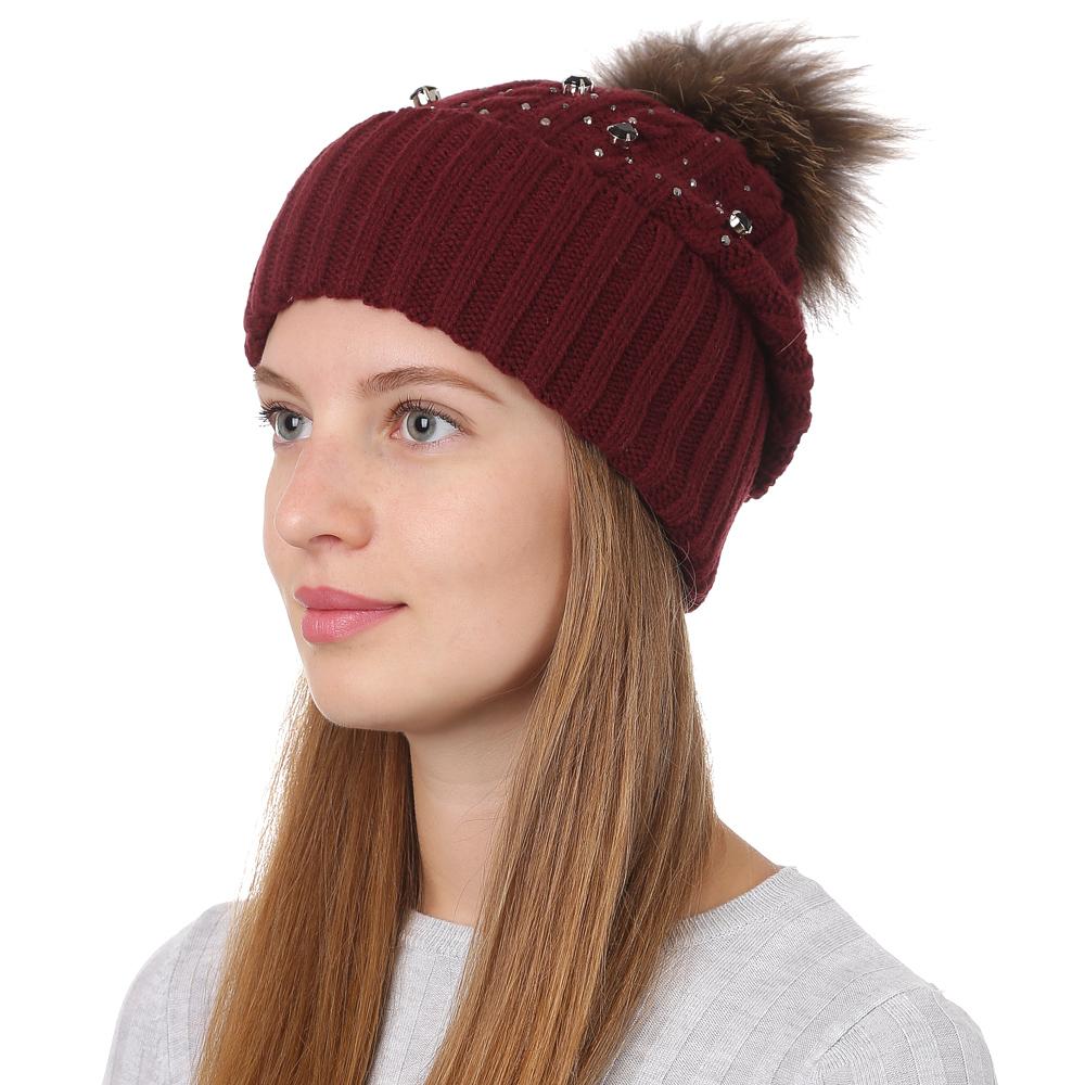 Шапка женская Fabretti, цвет: бордовый. F2017-33-26. Размер универсальныйF2017-33-26Стильная женская шапка Fabretti отлично дополнит ваш образ и защитит от холода. Смесовая пряжа с шерстью в составе максимально сохраняет тепло и обеспечивает удобную посадку. Классическая вязаная шапка оформлена меховым помпоном. Такая шапка станет отличным дополнением к вашему осеннему или зимнему гардеробу, в ней вам будет уютно и тепло!