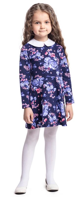 Платье для девочки PlayToday, цвет: фиолетовый, сиреневый. 372072. Размер 110372072Платье PlayToday с длинным рукавом отрезное по талии дополнит повседневный гардероб ребенка. Модель с белоснежным воротником на пуговицах, при необходимости его можно отстегнуть. На спинке расположены удобные застежки-кнопки. Платье из яркой набивной ткани с цветочным рисунком.
