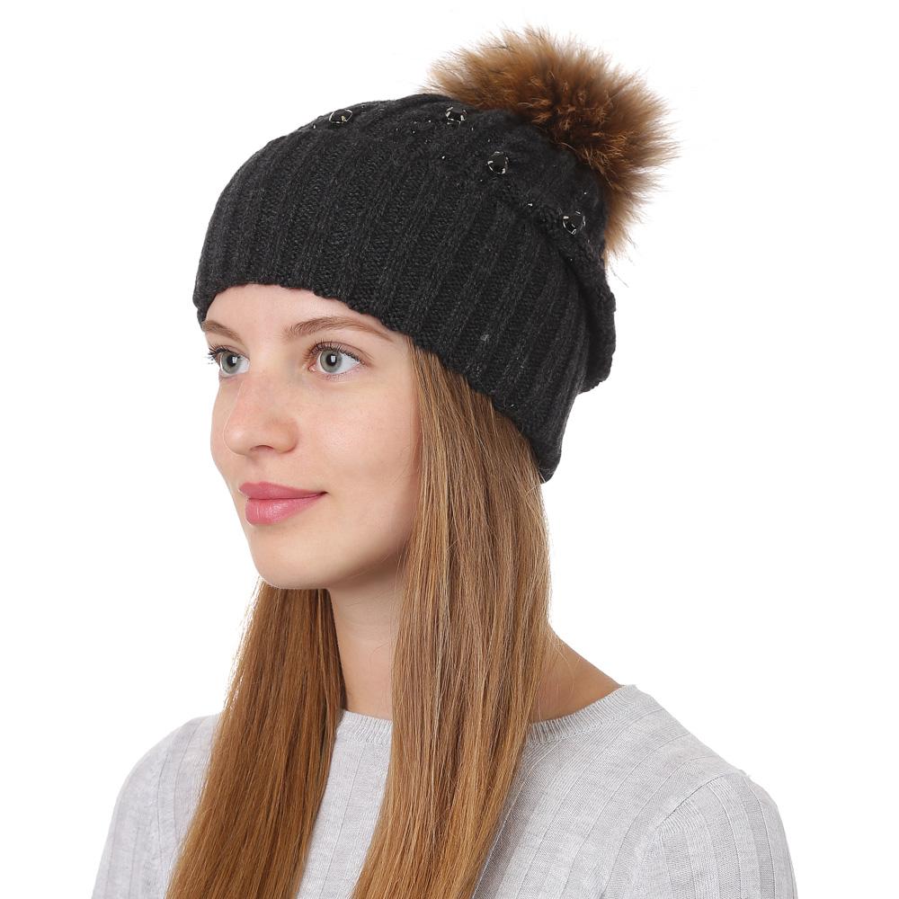 Шапка женская Fabretti, цвет: темно-серый. F2017-33-44. Размер универсальныйF2017-33-44Стильная женская шапка Fabretti отлично дополнит ваш образ и защитит от холода. Смесовая пряжа с шерстью в составе максимально сохраняет тепло и обеспечивает удобную посадку. Шапка оформлена меховым помпоном. Такая шапка станет отличным дополнением к вашему осеннему или зимнему гардеробу, в ней вам будет уютно и тепло!