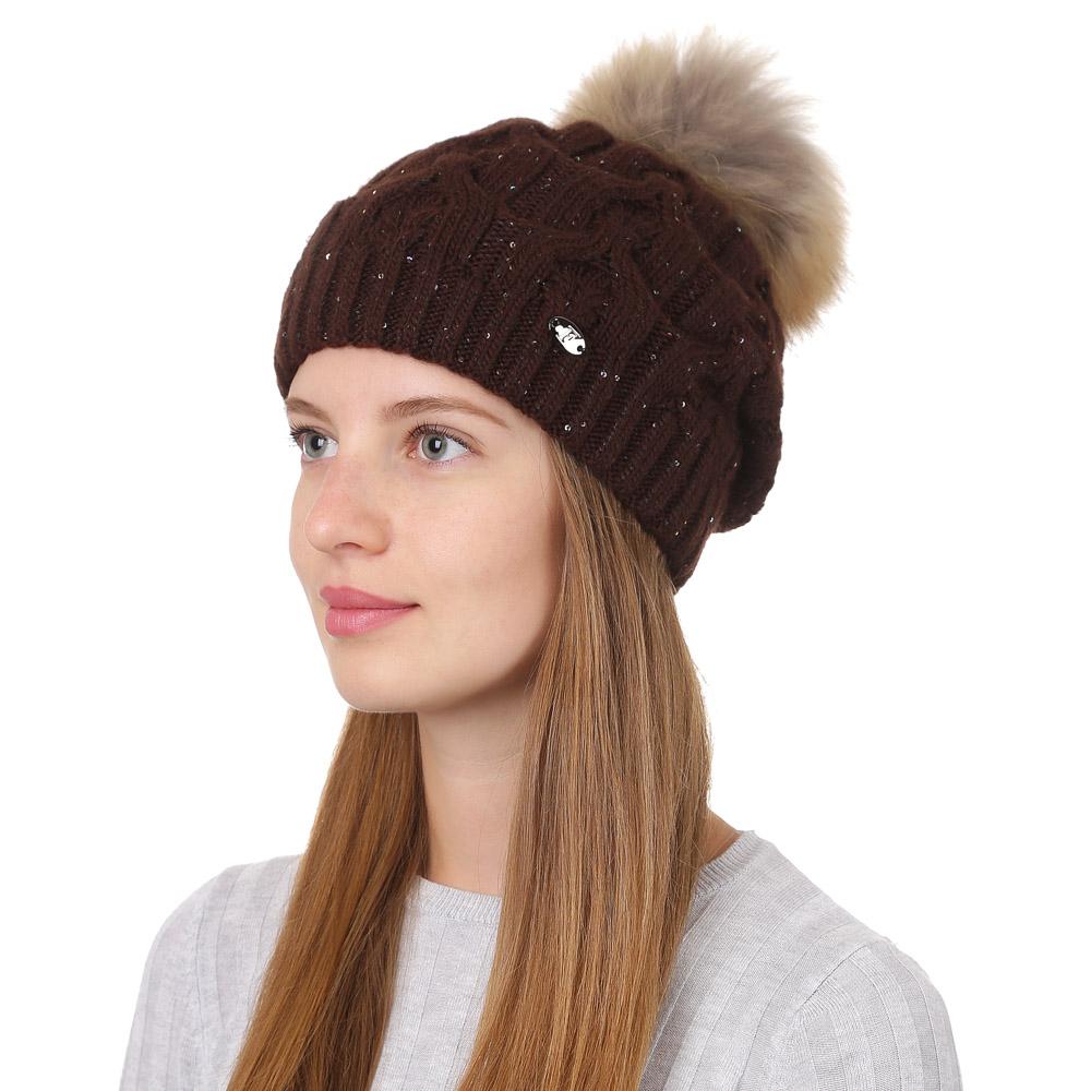 Шапка женская Fabretti, цвет: коричневый. F2017-37-85. Размер универсальныйF2017-37-85Стильная женская шапка Fabretti отлично дополнит ваш образ и защитит от холода. Смесовая пряжа с шерстью в составе максимально сохраняет тепло и обеспечивает удобную посадку. Классическая вязаная шапка оформлена меховым помпоном и металлическим декоративным элементом. Такая шапка станет отличным дополнением к вашему осеннему или зимнему гардеробу, в ней вам будет уютно и тепло!