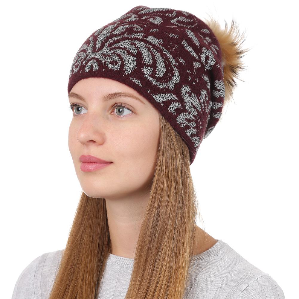 Шапка женская Fabretti, цвет: бордовый. F2017-38-26. Размер универсальныйF2017-38-26Стильная женская шапка Fabretti отлично дополнит ваш образ и защитит от холода. Смесовая пряжа с шерстью в составе максимально сохраняет тепло и обеспечивает удобную посадку. Шапка оформлена меховым помпоном. Такая шапка станет отличным дополнением к вашему осеннему или зимнему гардеробу, в ней вам будет уютно и тепло!