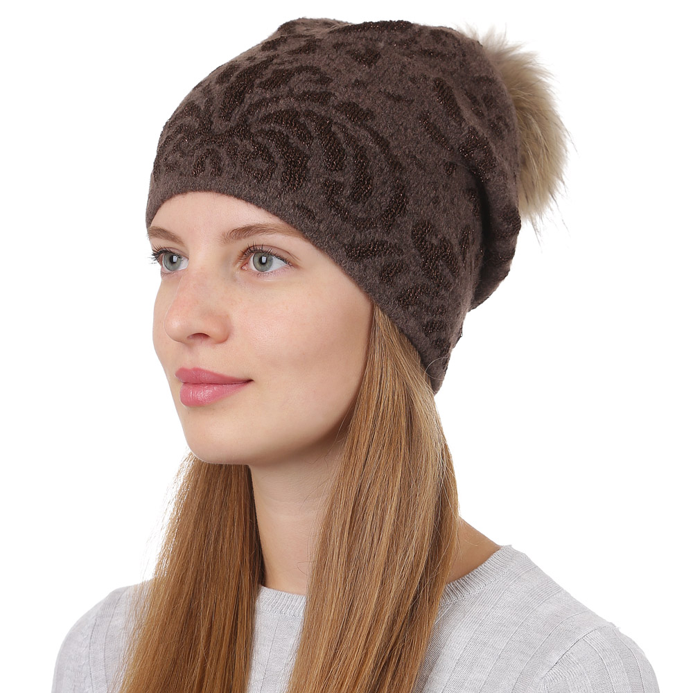 Шапка женская Fabretti, цвет: светло-коричневый. F2017-38-54. Размер универсальныйF2017-38-54Стильная женская шапка Fabretti отлично дополнит ваш образ и защитит от холода. Смесовая пряжа с шерстью в составе максимально сохраняет тепло и обеспечивает удобную посадку. Шапка оформлена меховым помпоном. Такая шапка станет отличным дополнением к вашему осеннему или зимнему гардеробу, в ней вам будет уютно и тепло!
