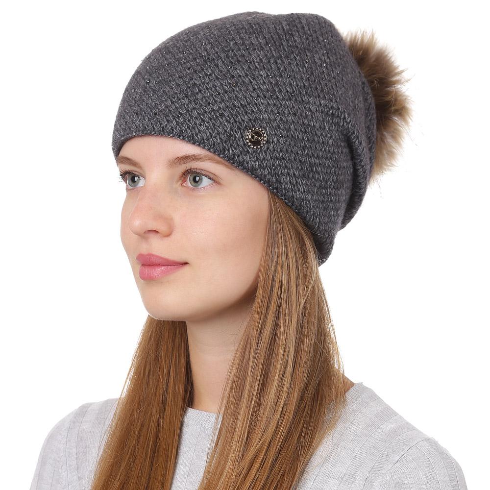 Шапка женская Fabretti, цвет: темно-серый. F2017-40-33. Размер универсальныйF2017-40-33Стильная женская шапка Fabretti отлично дополнит ваш образ и защитит от холода. Смесовая пряжа с шерстью в составе максимально сохраняет тепло и обеспечивает удобную посадку. Вязаная шапка оформлена стразами и меховым помпоном. Такая шапка станет отличным дополнением к вашему осеннему или зимнему гардеробу, в ней вам будет уютно и тепло!