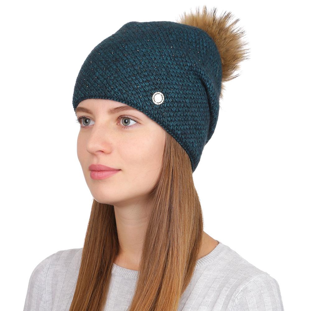 Шапка женская Fabretti, цвет: изумрудный. F2017-40-52. Размер универсальныйF2017-40-52Стильная женская шапка Fabretti отлично дополнит ваш образ и защитит от холода. Смесовая пряжа с шерстью в составе максимально сохраняет тепло и обеспечивает удобную посадку. Вязаная шапка оформлена стразами и меховым помпоном. Такая шапка станет отличным дополнением к вашему осеннему или зимнему гардеробу, в ней вам будет уютно и тепло!