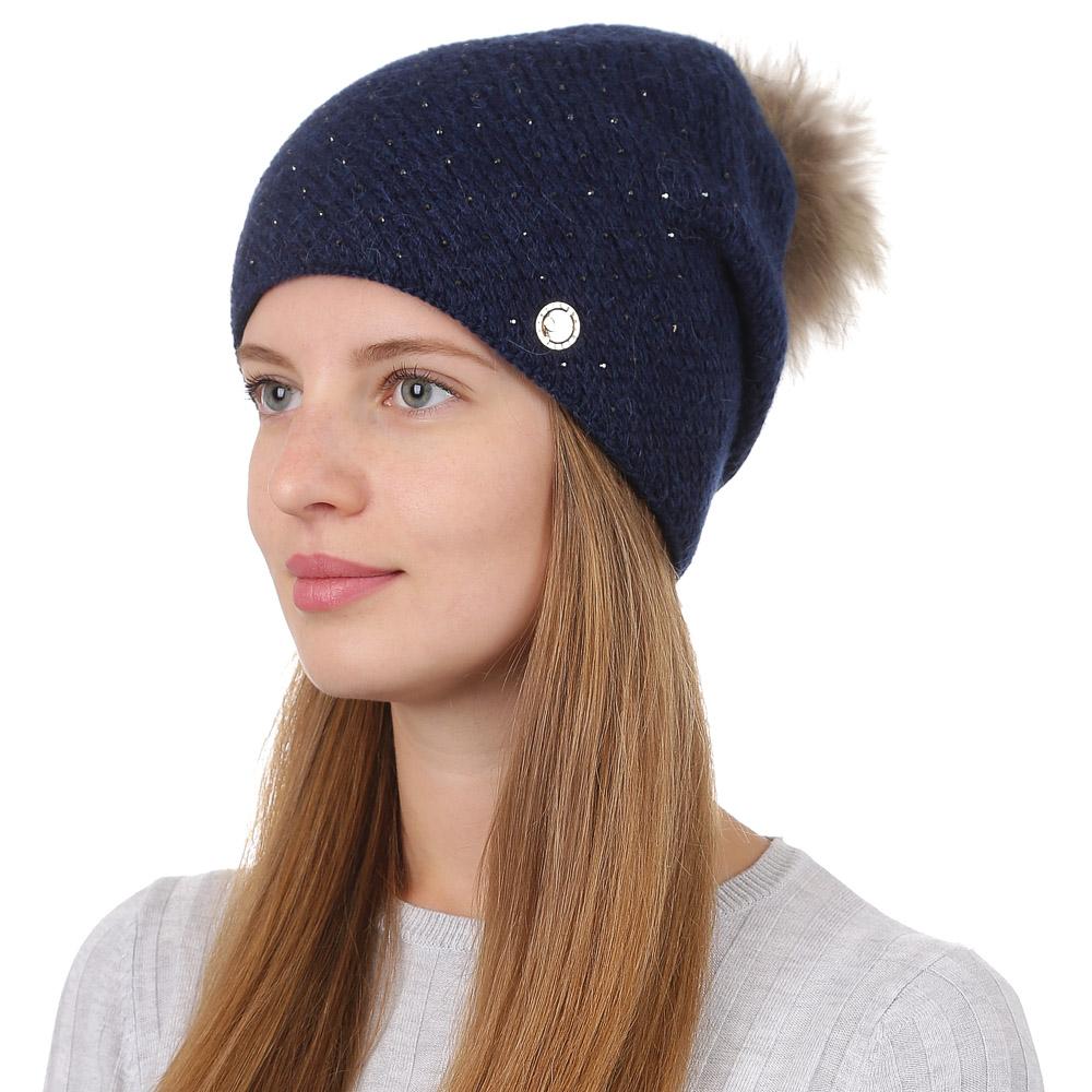 Шапка женская Fabretti, цвет: темно-синий. F2017-40-98. Размер универсальныйF2017-40-98Стильная женская шапка Fabretti отлично дополнит ваш образ и защитит от холода. Смесовая пряжа с шерстью в составе максимально сохраняет тепло и обеспечивает удобную посадку. Вязаная шапка оформлена стразами и меховым помпоном. Такая шапка станет отличным дополнением к вашему осеннему или зимнему гардеробу, в ней вам будет уютно и тепло!