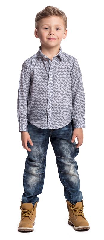 Рубашка для мальчика PlayToday, цвет: серый, белый. 371090. Размер 110371090Эффектная рубашка PlayToday с длинным рукавом - отличное решение для повседневного гардероба ребенка. Практична и очень удобна для повседневной носки. Ткань мягкая и приятная на ощупь, не раздражает нежную детскую кожу. Стиль отвечает всем последним тенденциям детской моды. Рубашка с отложным воротником. Даже в самой активной игре ребенок будет всегда иметь аккуратный вид. Модель дополнена контрастными вставками на рукавах.