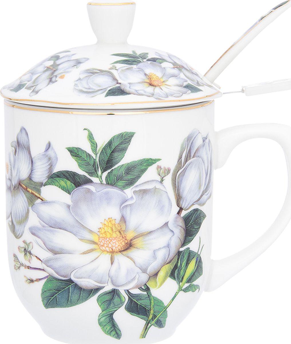 Кружка Elan Gallery Белый шиповник, с ложкой, 350 мл. 730664730664Кружка с металлическим ситом и ложкой для заваривания чая станет прекрасным подарком и послужит верой и правдой в повседневной жизни.