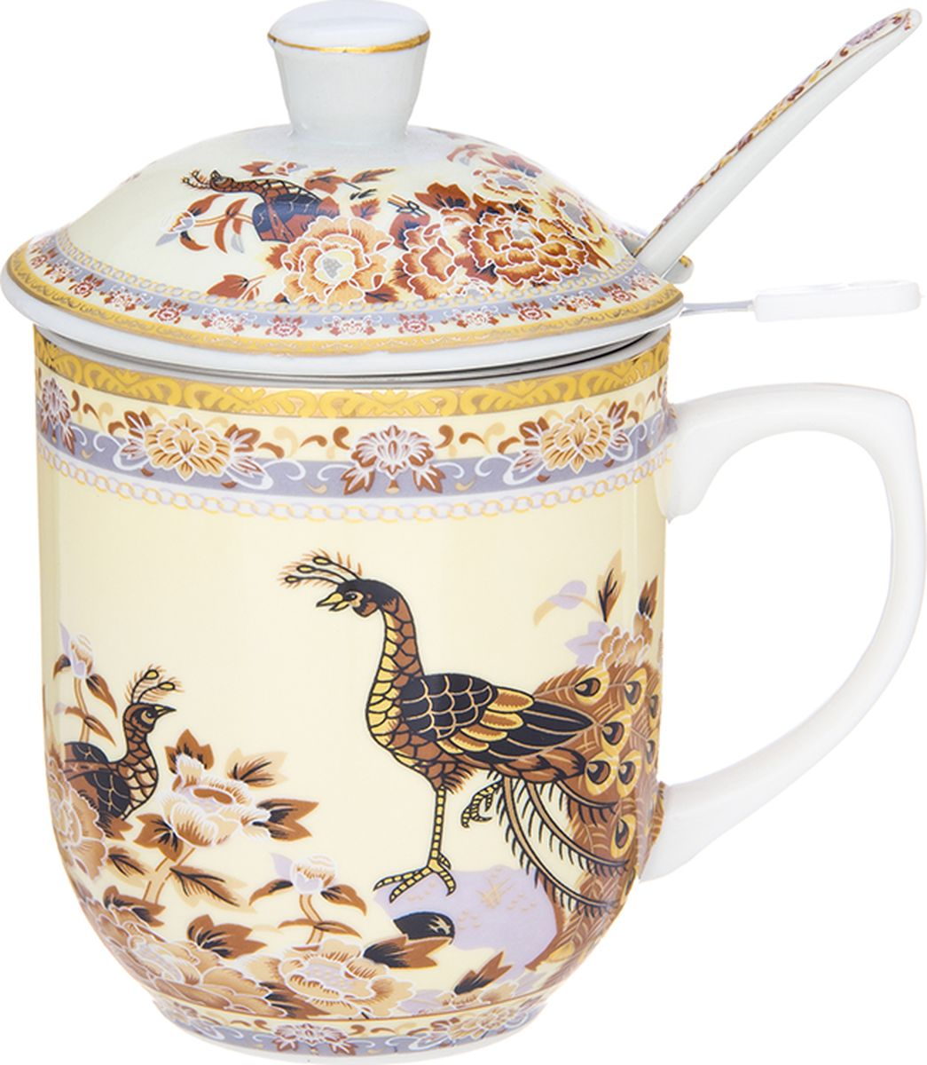 Кружка Elan Gallery Павлин на бежевом, с ложкой, 350 мл. 730666730666Кружка с металлическим ситом и ложкой для заваривания чая станет прекрасным подарком и послужит верой и правдой в повседневной жизни.