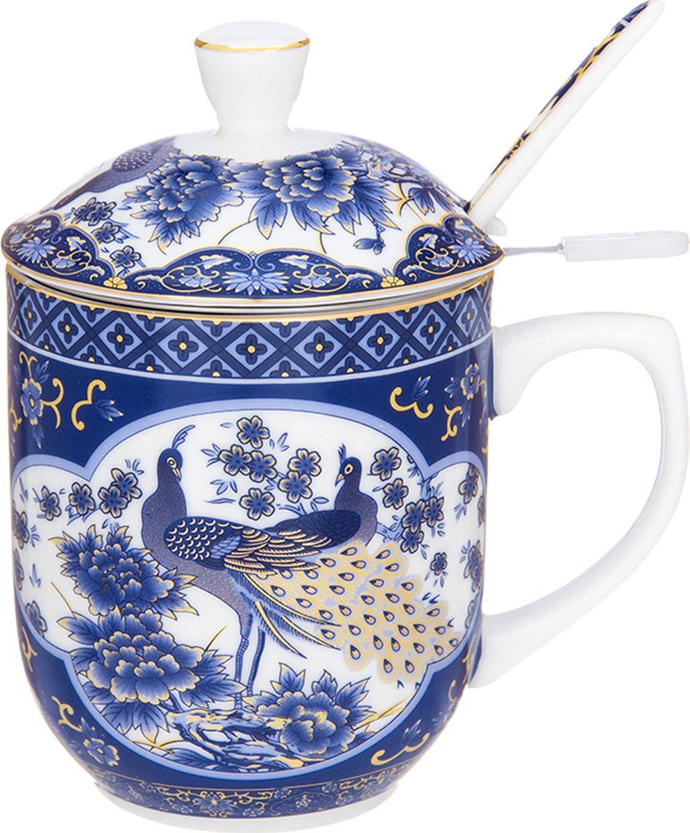 Кружка Elan Gallery  Павлин синий , с ложкой, 350 мл. 730667 - Туристическая посуда