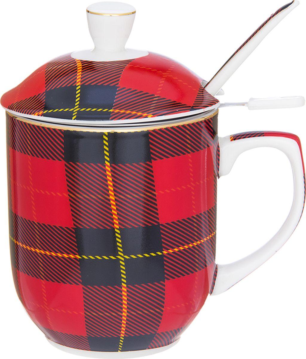 Кружка Elan Gallery Клетка темно - красная, с ложкой, 350 мл. 730668730668Кружка с металлическим ситом и ложкой для заваривания чая станет прекрасным подарком и послужит верой и правдой в повседневной жизни.