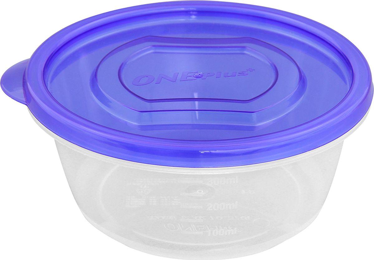 Контейнер пищевой One plus, круглый, цвет: синий, 350 мл. 810046810046Пластиковый контейнер для хранения продуктов One plus произведен из высококачественных материалов, термоустойчивы, может быть использован в микроволновой печи и в морозильной камере, устойчив к воздействию масел и жиров, не впитывает запах. Удобен в использовании, долговечен, легко открывается и закрывается, не занимает много места, можно мыть в посудомоечной машине. Пригоден для разогрева пищи в СВЧ при температуре не более +125°С, для хранения в морозильнике при температуре не ниже -24°С.