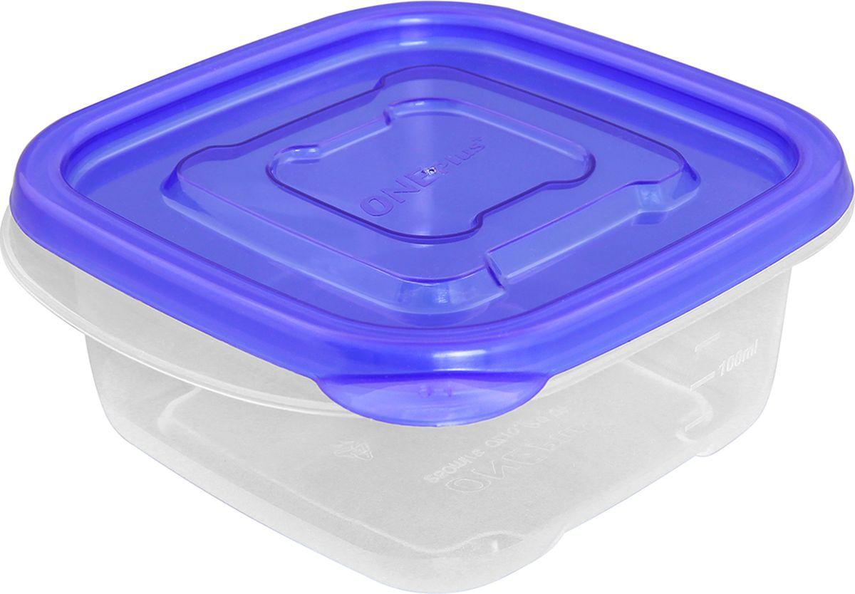 """Контейнер пищевой """"One plus"""", квадратный, цвет: синий, 250 мл. 810047"""