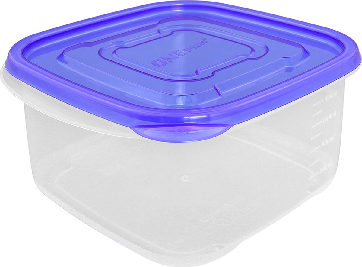"""Контейнер пищевой """"One plus"""", квадратный, цвет: синий, 970 мл. 810049"""