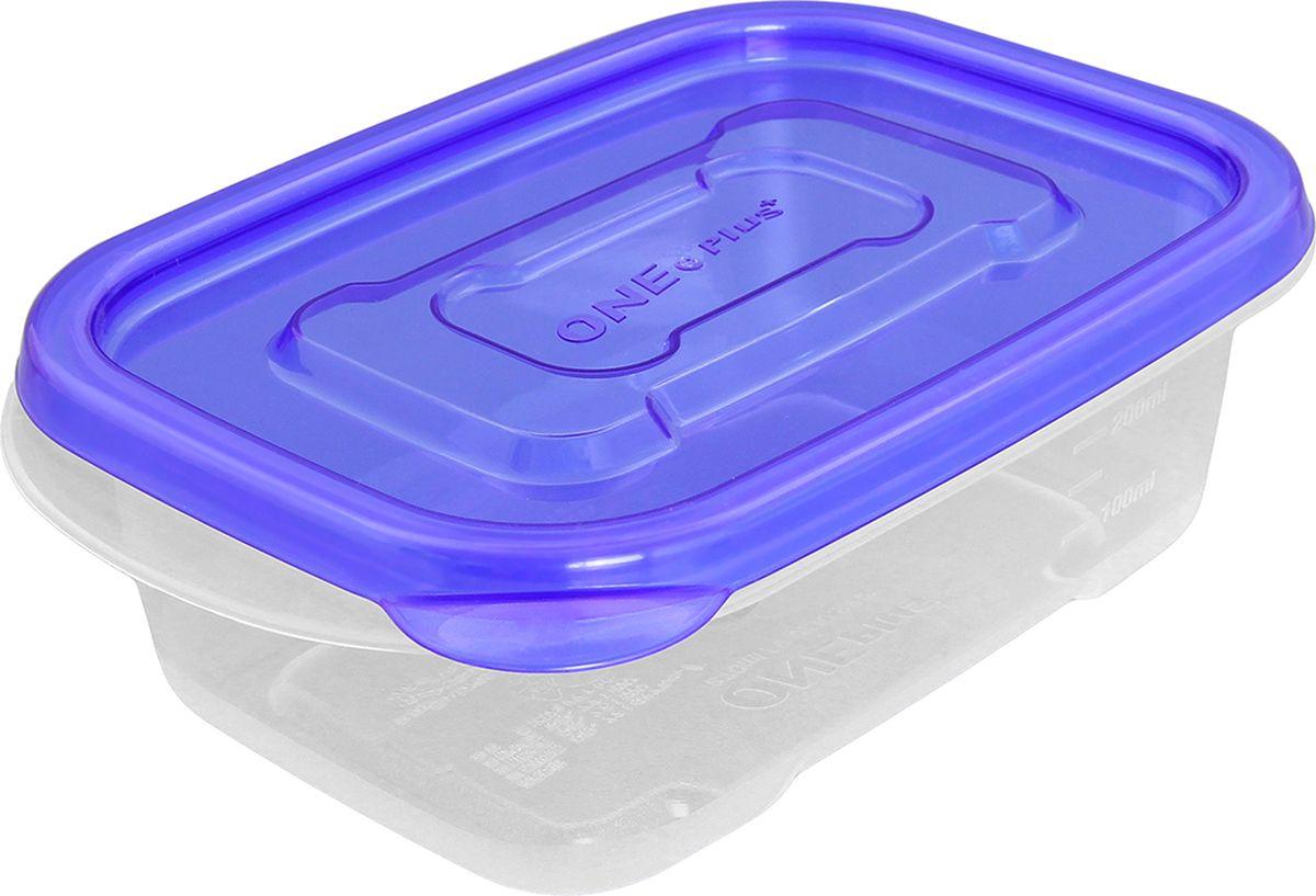 Контейнер пищевой One plus, прямоугольный, цвет: синий, 270 мл. 810050810050Пластиковый контейнер для хранения продуктов One plus произведены из высококачественных материалов, термоустойчивы, могут быть использованы в микроволновой печи и в морозильной камере, устойчивы к воздействию масел и жиров, не впитывают запах. Удобны в использовании, долговечны, легко открываются и закрываются, не занимают много места, можно мыть в посудомоечной машине. Пригоден для разогрева пищи в СВЧ при t не более +125C, для хранения в морозильнике при t не ниже -24С. Объем 270 мл.