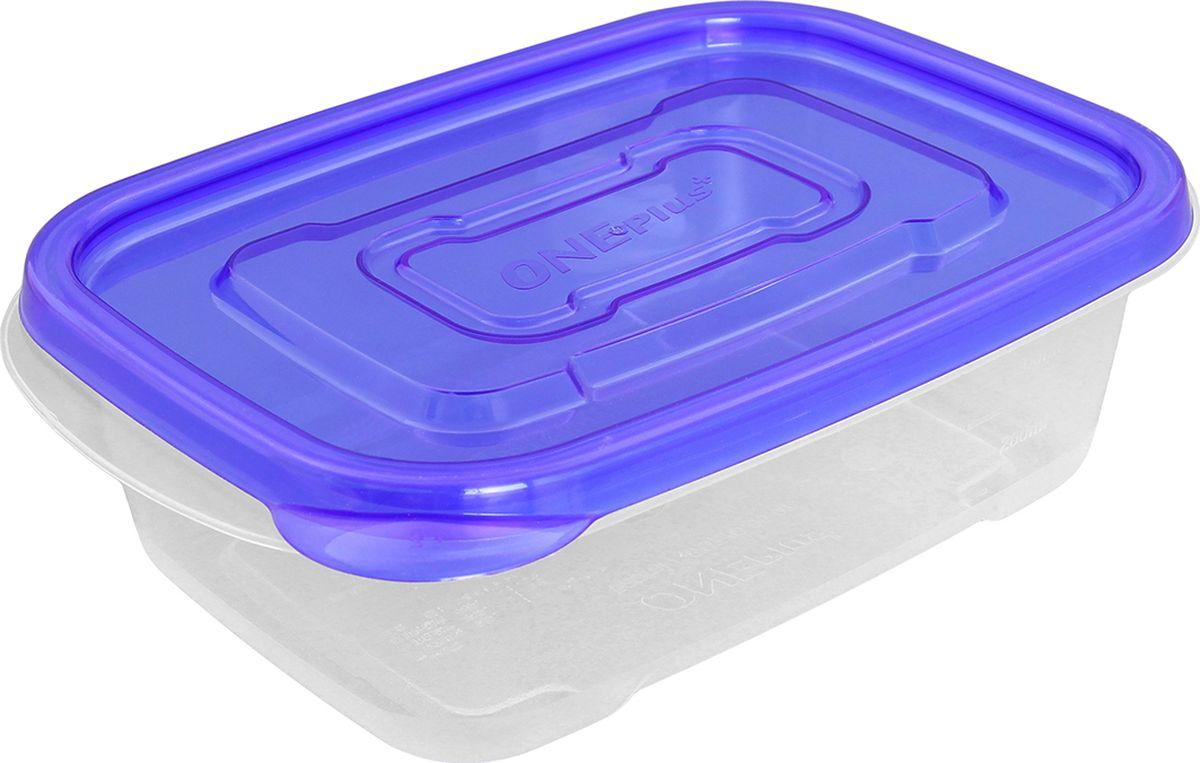 Контейнер пищевой One plus, прямоугольный, цвет: синий, 520 мл. 810051810051Пластиковый контейнер для хранения продуктов One plus произведен из высококачественных материалов, термоустойчивы, может быть использован в микроволновой печи и в морозильной камере, устойчив к воздействию масел и жиров, не впитывает запах. Удобен в использовании, долговечен, легко открывается и закрывается, не занимает много места, можно мыть в посудомоечной машине. Пригоден для разогрева пищи в СВЧ при температуре не более +125°С, для хранения в морозильнике при температуре не ниже -24°С.