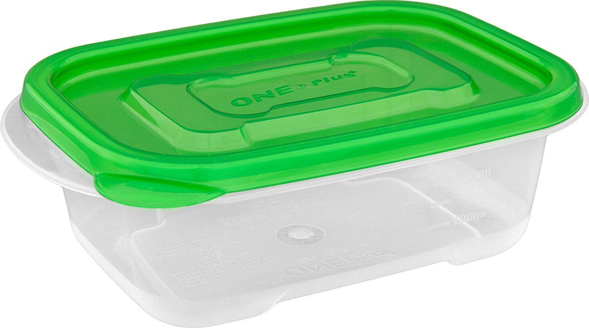 Контейнер пищевой One plus, прямоугольный, цвет: зеленый, 270 мл. 810111810111Пластиковый контейнер для хранения продуктов One plus произведены из высококачественных материалов, термоустойчивы, могут быть использованы в микроволновой печи и в морозильной камере, устойчивы к воздействию масел и жиров, не впитывают запах. Удобны в использовании, долговечны, легко открываются и закрываются, не занимают много места, можно мыть в посудомоечной машине. Пригоден для разогрева пищи в СВЧ при t не более +125C, для хранения в морозильнике при t не ниже -24С. Объем 270 мл.