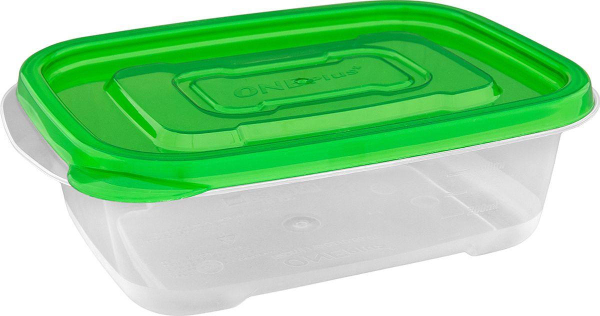 Контейнер пищевой One plus, прямоугольный, цвет: зеленый, 520 мл. 810112810112Пластиковый контейнер для хранения продуктов One plus произведены из высококачественных материалов, термоустойчивы, могут быть использованы в микроволновой печи и в морозильной камере, устойчивы к воздействию масел и жиров, не впитывают запах. Удобны в использовании, долговечны, легко открываются и закрываются, не занимают много места, можно мыть в посудомоечной машине. Пригоден для разогрева пищи в СВЧ при t не более +125C, для хранения в морозильнике при t не ниже -24С. Объем 520 мл.