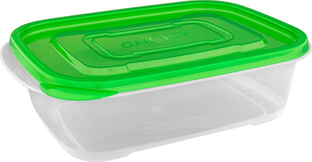 Контейнер пищевой One plus, цвет: прозрачный, зеленый, 890 мл. 810113GR1661Пластиковый контейнер для хранения продуктов One plus произведен из высококачественных материалов, термоустойчив, может быть использован в микроволновой печи и в морозильной камере, устойчив к воздействию масел и жиров, не впитывает запах. Удобен в использовании, долговечен, легко открывается и закрывается, не занимает много места, можно мыть в посудомоечной машине.Пригоден для разогрева пищи в СВЧ при t не более +125 C, для хранения в морозильнике при t не ниже -24 С.Объем: 890 мл.