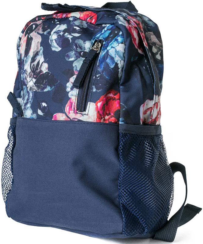 Рюкзак для девочки PlayToday, цвет: темно-синий, розовый, фиолетовый, 30 х 20 х 10 см. 372712372712Стильный рюкзак для девочки PlayToday выполнен из прочного безопасного материала, оформленного цветочным принтом. Рюкзак имеет одно вместительное отделение, которое закрывается на двухзамковую молнию. Снаружи изделие дополнено прорезным карманом на молнии двумя боковыми сетчатыми карманами. Наличие эргономичной спинки, уплотненных анатомических лямок регулируемой длины и ручки для переноски делают рюкзак удобным для ребенка. В таком рюкзаке поместятся все необходимые принадлежности.