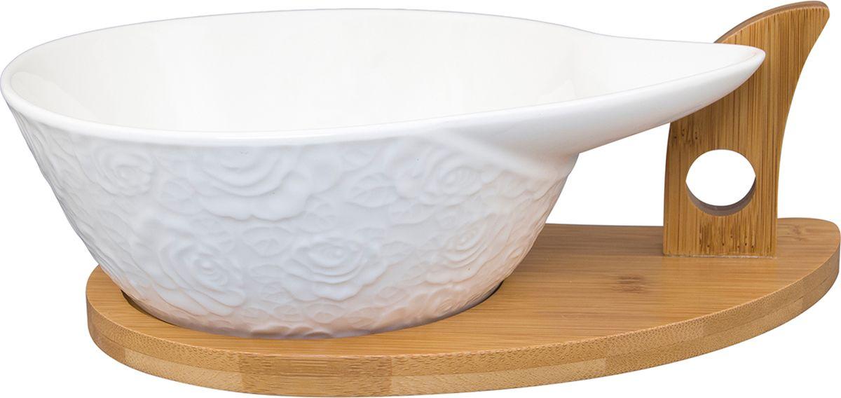 Блюдо Elan Gallery Капля Белые розы на деревянной подставке, 1 л. 860024