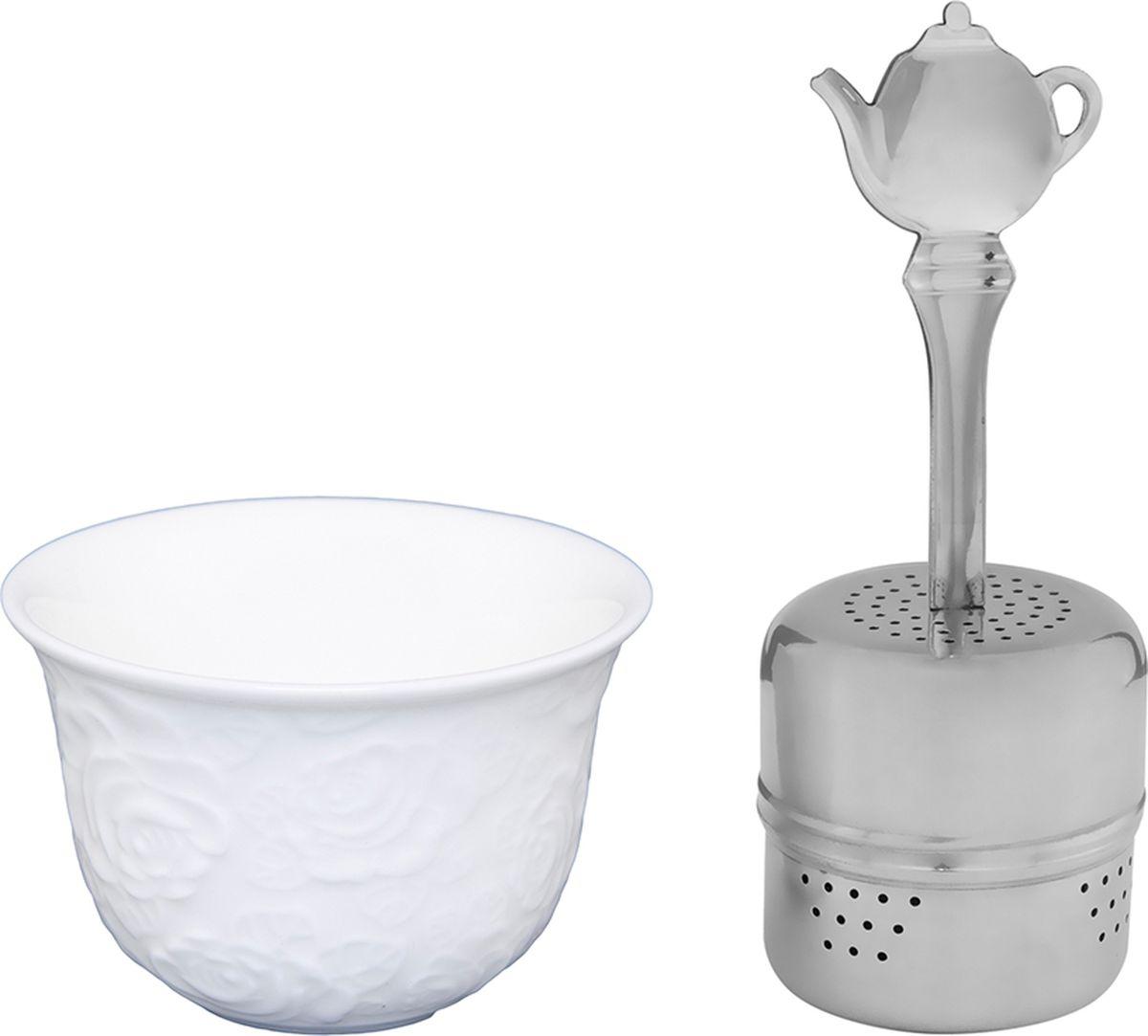Набор для заварки чая Elan Gallery Белые розы, 75 мл, 2 предмета. 860028860028Набор для заварки чая Elan Gallery Белые розы изготовленный из высококачественной керамики прекрасно дополнит интерьер вашей кухни. А также станет отличным подарком вашим друзьям и близким.