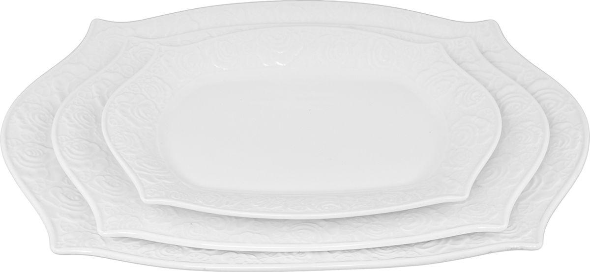 Набор блюд Elan Gallery Белые розы, 3 шт. 860030 alparaisa набор из 2 блюд в форме розы 00003l 2 st алая роза