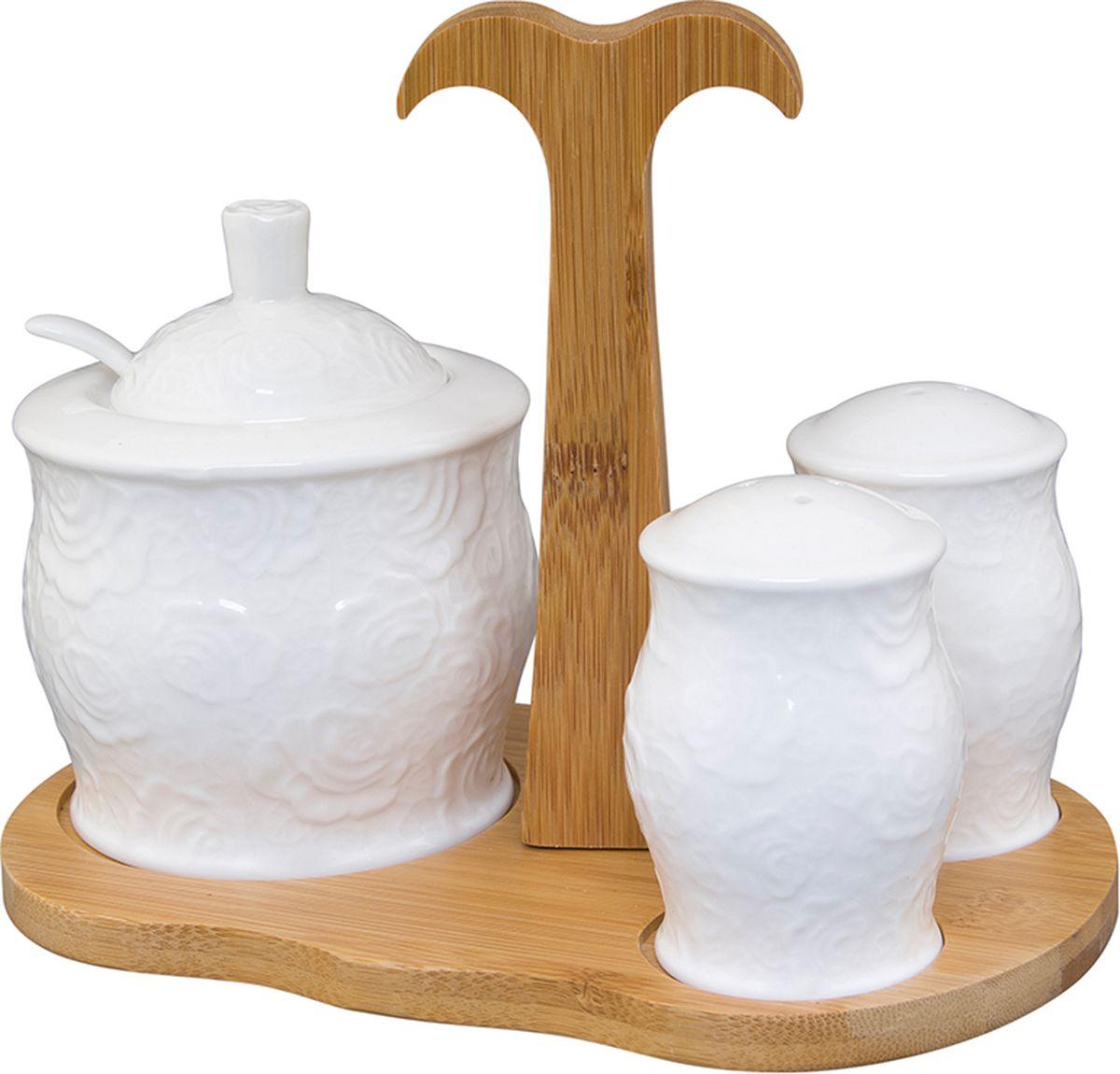 Набор для специй Elan Gallery Белые розы, на подставке, 4 предмета набор для специй terracotta дерево жизни