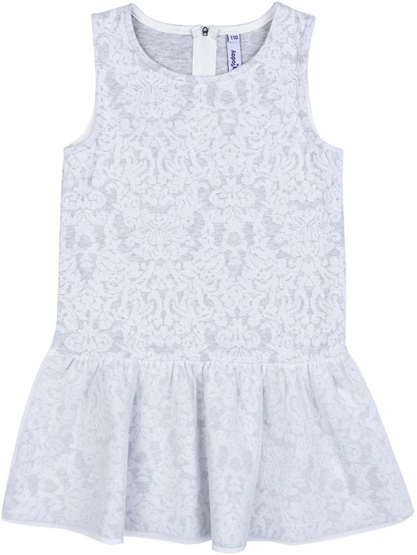 Сарафан для девочки PlayToday, цвет: белый, светло-серый. 372116. Размер 122