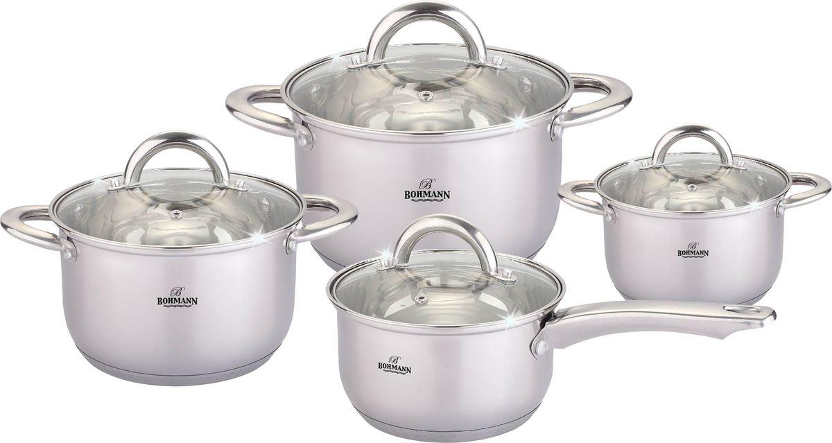 Набор посуды Bohmann, 8 предметов. 0812BH0812BHНабор посуды. 8 предметов. Состав: Кастрюля с крышкой 14х7.5см - 1,0л; 18х10.5см - 2,9л; 20х11.5см - 3,9л. Ковш с крышкой 16х9.5см - 2,1л. Дно подходит для индукции.