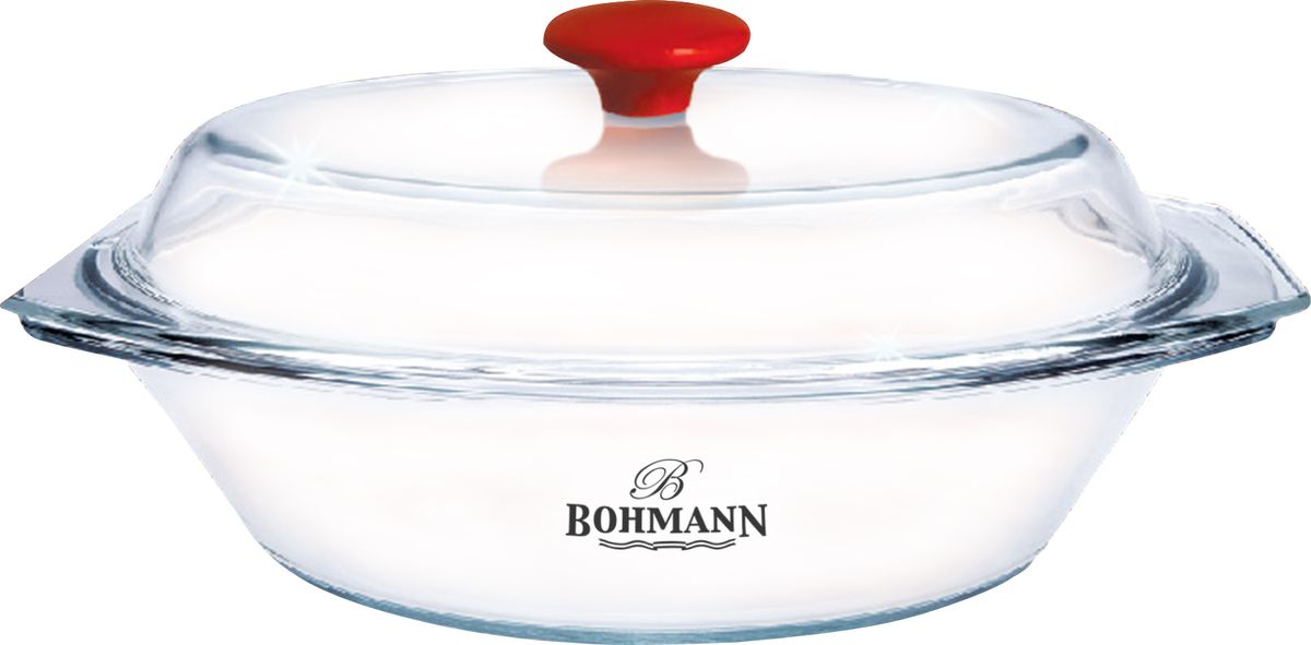 Блюдо Bohmann, с крышкой, 3 л. 2020BHG2020BHGСтеклянное овальное блюдо с крышкой. Крышка с красной ручкой. Изготовлено из жаростойкого стекла. Высокая термостойкость. Грязезащитное и стойкое к механическим повреждениям стекло не впитывает запахи.