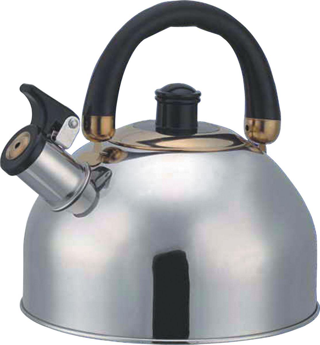 Bohmann чайник BHL-625 BK, 2,5л,625BHLBKЧайник Емкость 2,5лКорпус - Нержавеющая сталь. Двигающаяся бакелитовая ручка. Подходит к газовым, электрическим, стеклокерамическим плитам. нержавеющая сталь, пластик