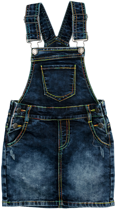 Сарафан для девочки PlayToday, цвет: синий. 372160. Размер 110372160Сарафан PlayToday выполнен из джинсовой ткани. Модель со шлевками, при необходимости можно использовать ремень. Сарафан с регулируемыми лямками. На талии модель застегивается на пуговицы-болты. В качестве декора использованы потертости и контрастные строчки. Сарафан дополнен втачными карманами.