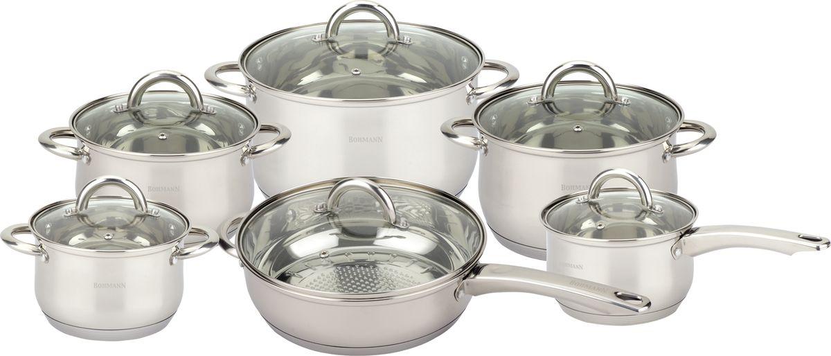 Набор посуды Bohmann, 12 предметов. 1212BHS1212BHSНабор посуды из 12 предметов. У посуды стеклянная крышка, стальные ручки. Состав набора: Ковш:16 х 10,5 см объемом 2.1л. Кастрюля: 16 х 10,5 см объемом 2.1 л. Кастрюля: 18 х 11,5 см объемом 2.9 л. Кастрюля: 20 х 12,5 см объемом 3,9 л. Кастрюля: 24 х 14,5 см объемом 6,6 л. Сковорода: 24 х 7,5 см объемом 3.4 л. Посуда подходит для индукционных плит.